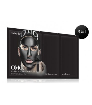 OMG! MAN IN BLACK PEEL OFF MASK KIT - MASQUE VISAGE HOMME DOUBLE DARE OMG -  9.9